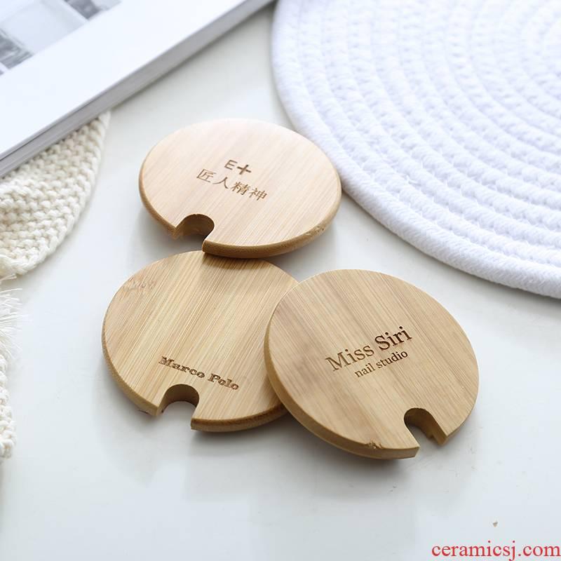 Nanmu lid general environmental mark glass ceramic cup spoon, round solid wood seasoning wood spoon, run the lid