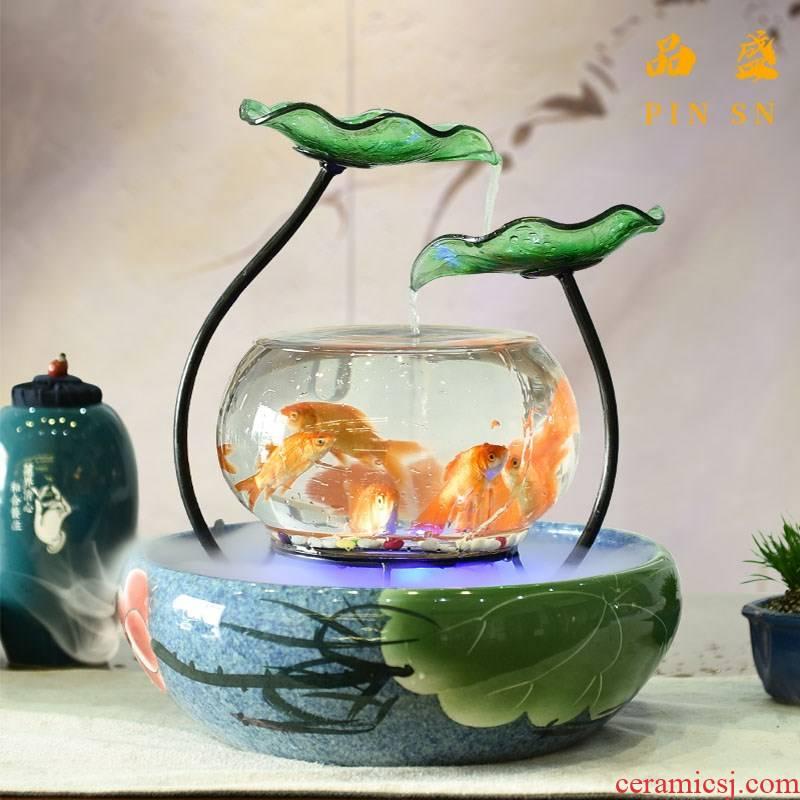 Ceramic goldfish desktop small sitting room since the circulating water furnishing articles super white glass creative birthday gift