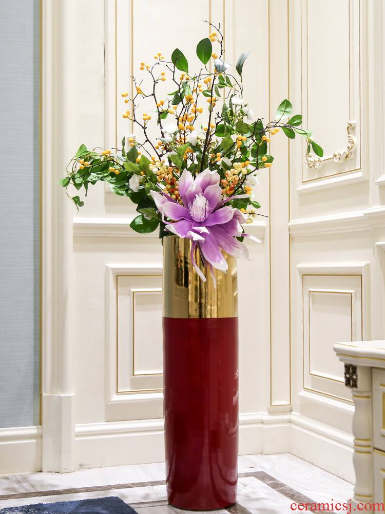 Light key-2 luxury furnishing articles flower arranging contracted and I sitting room ground ceramic vase TV ark, hotel adornment flowers that occupy the home