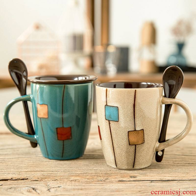 Creative ceramic cup individuality tide restoring ancient ways is contracted glass coffee cup household glass mugs couples with a spoon