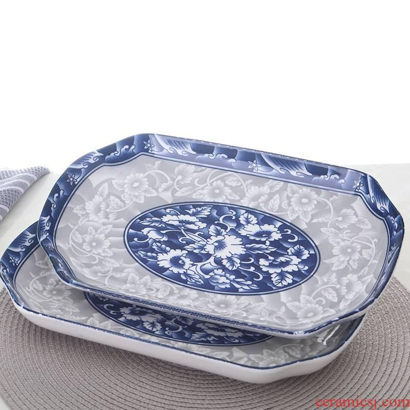 Jingdezhen glaze color Japanese ceramic plate under rectangular shaped dish home steamed fish fruit bowl