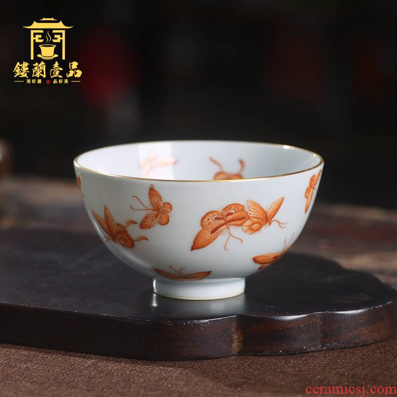Complete hand - made alum red hundred butterfly masters cup jingdezhen Complete hand - made kunfu tea sample tea cup large tea cup single CPU