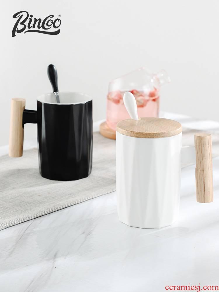 Bincoo creative move ceramic keller with spoon, office cup milk coffee cup tea cup