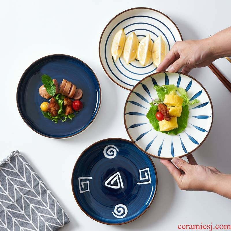 Japanese hand - made ceramic tableware large household food dish soup plate creative web celebrity circular deep dish Nordic breakfast dishes