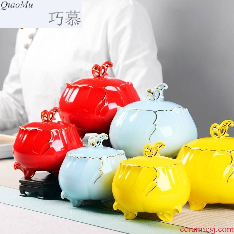 Qiao mu tea pot seal pot of tea packaging large household ceramics pu 'er tea barrel candy food can