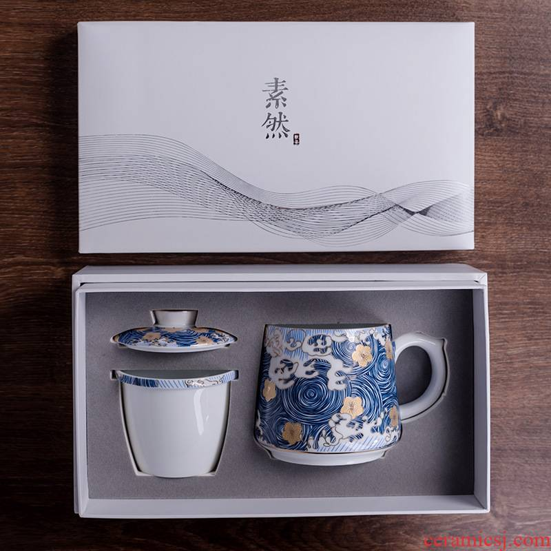 Colored enamel personal special cups with cover filtration separation ceramic masters cup cup tea tea tea gifts