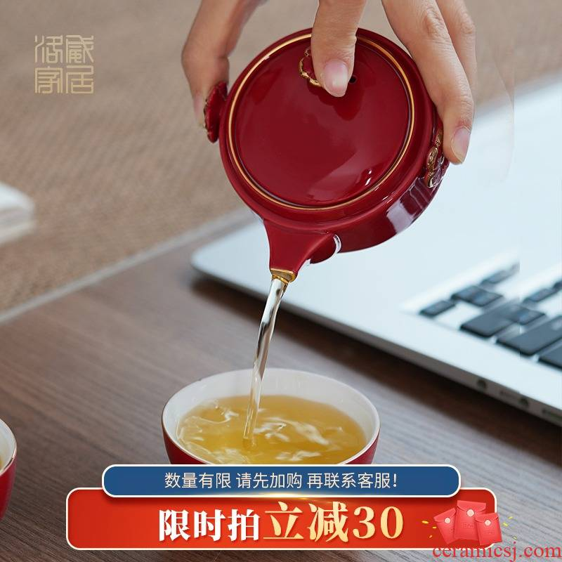 , new cat crack cup portable kung fu tea set household ceramics travel a pot of tea cups
