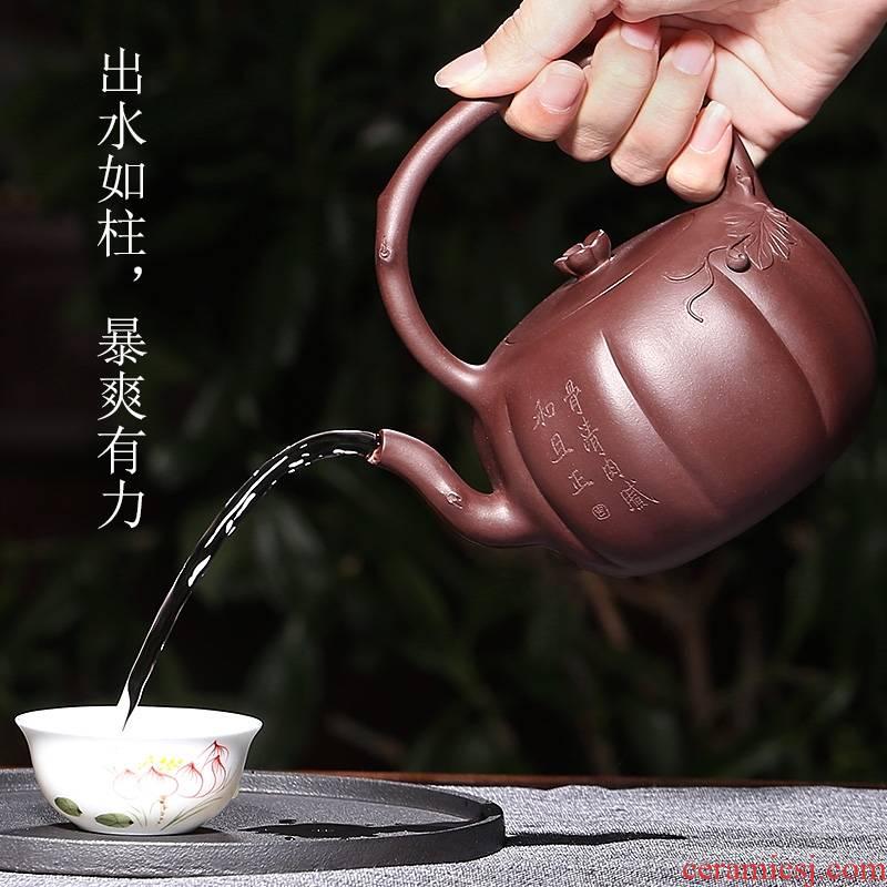 Qiao mu YH yixing are it by ore bottom groove green pure manual cixin qiu - yun teapot decals kung fu girder