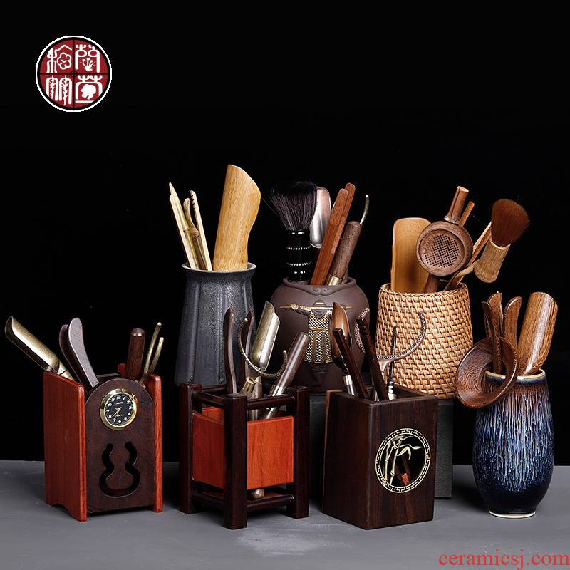 6 gentleman suit ebony ceramic tea tools to receive household wenge tea spoon tea accessories daqo