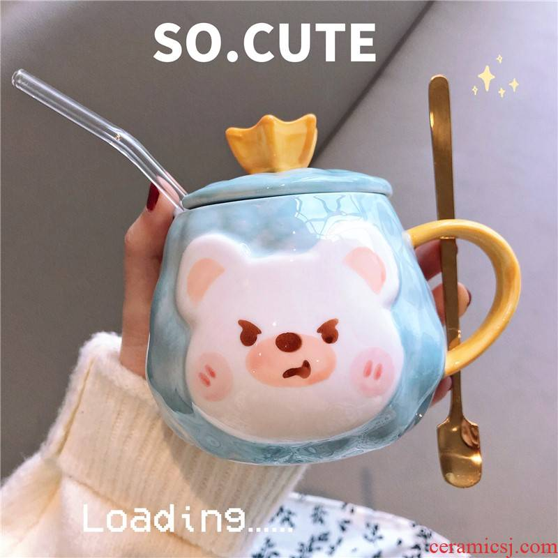 Ins Korean express cartoon creative water glass ceramic cup with cover girl students breakfast spoon straw keller