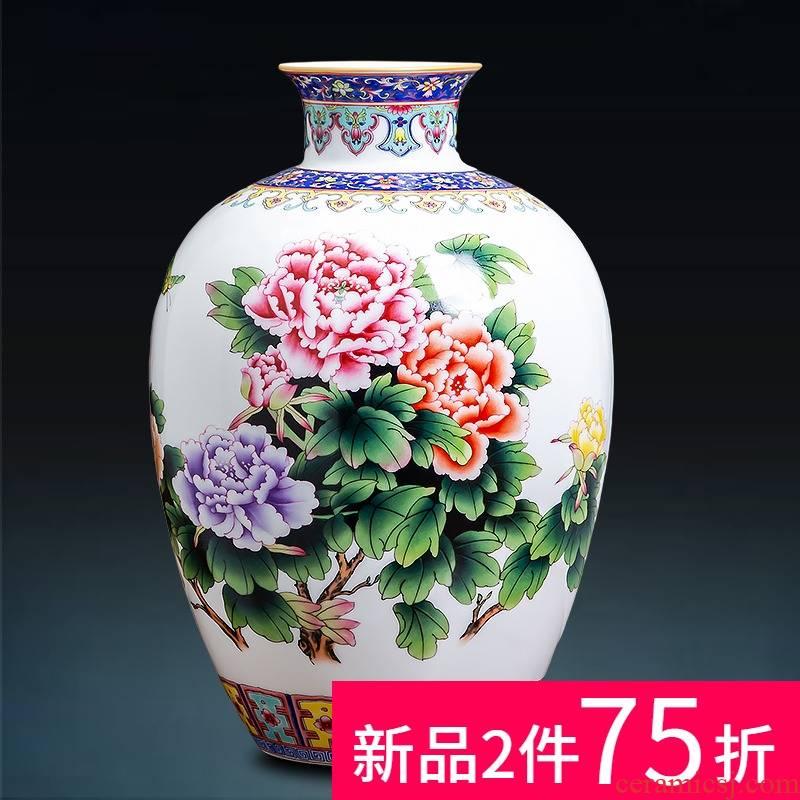 Jingdezhen ceramics powder enamel vase peony blooming flowers colored enamel porcelain sitting room of Chinese style household ornaments