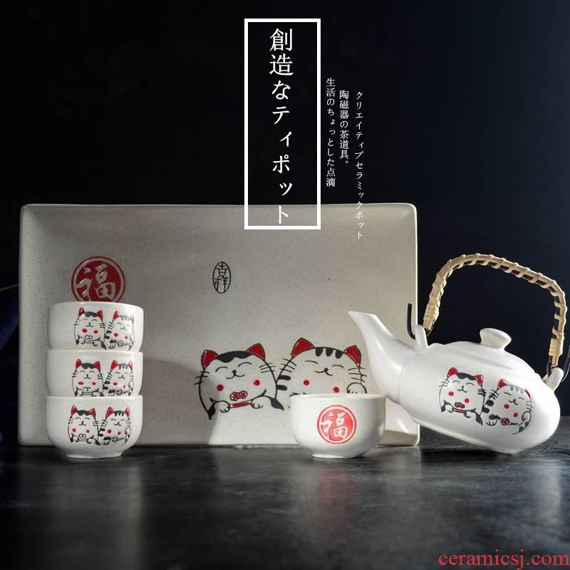 Creative Japanese cat Japanese ceramic tea set home restaurant single teapot teacup tray