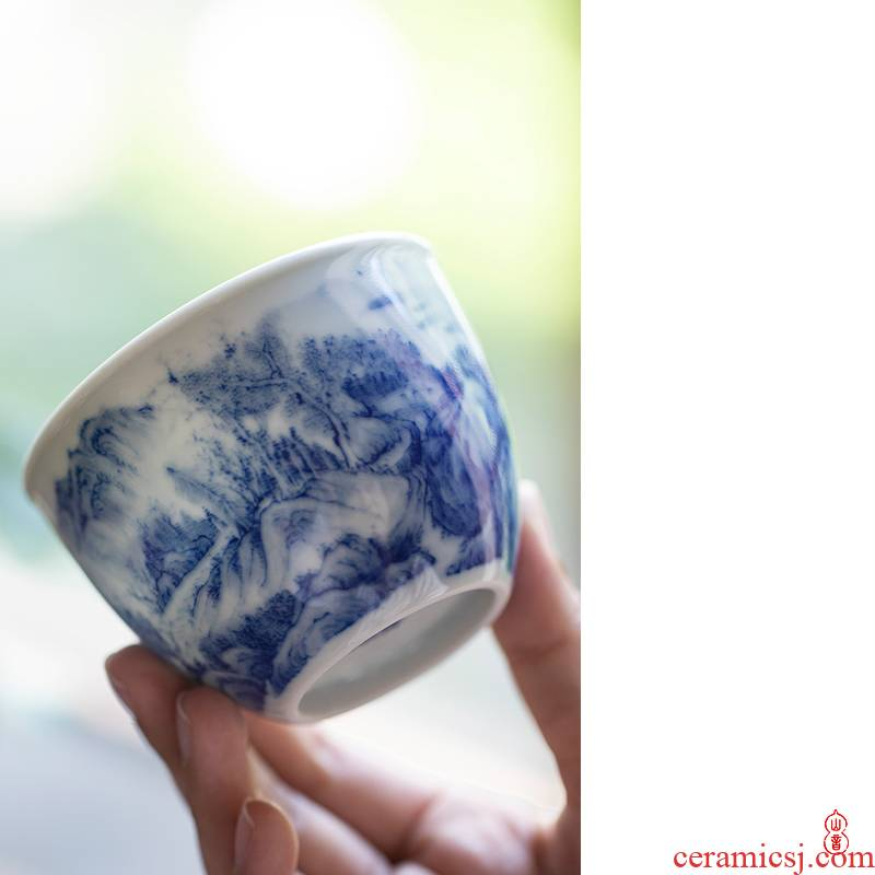 Blue and white sample tea cup day Jiang Xia cup of jingdezhen ceramic green room hand - made of high - end kung fu tea cup
