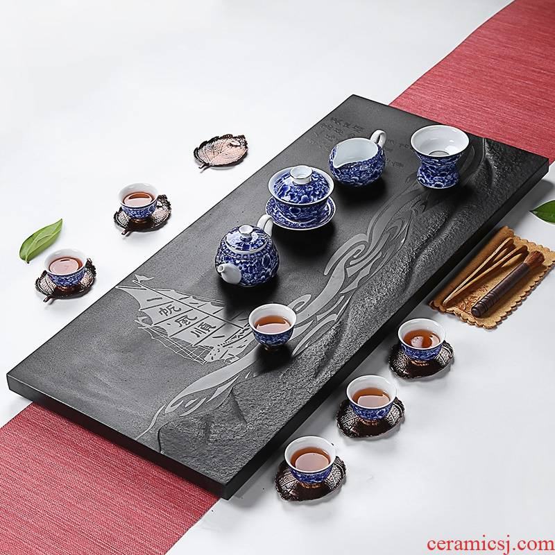 Longed for a complete set of blue and white porcelain kung fu tea set sharply opportunely stone tea tray was contracted office home tea cup high - grade group