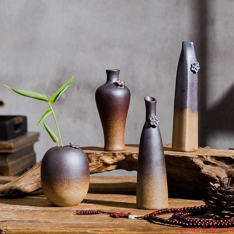 Ceramic vase furnishing articles of handicraft teahouse zen flower arranging flowers, Chinese style restoring ancient ways is imitation wood home decoration