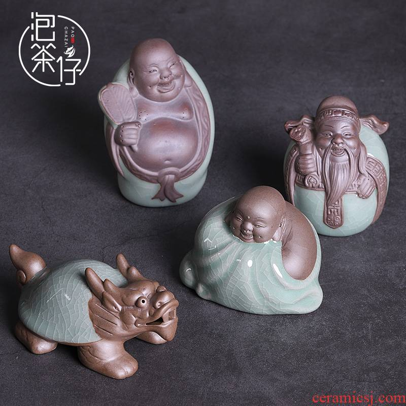 Elder brother up with tea pet tea tray was small place can keep individuality creative ceramic tea accessories play in tea tea zen monks