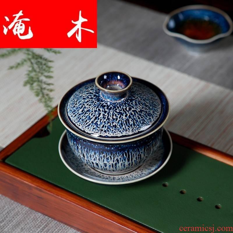 Submerged wood jingdezhen ceramic tureen three cups to bowl bowl retro home office tea taking tea bowl