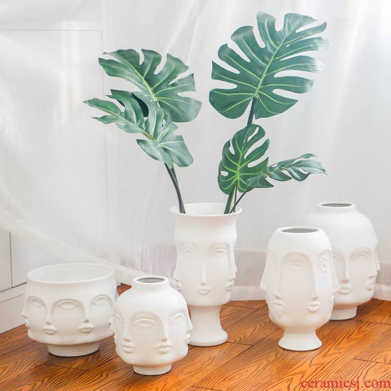 I and contracted white porcelain face vase creative MUSES hydroponic dried flower flower implement household table decorations