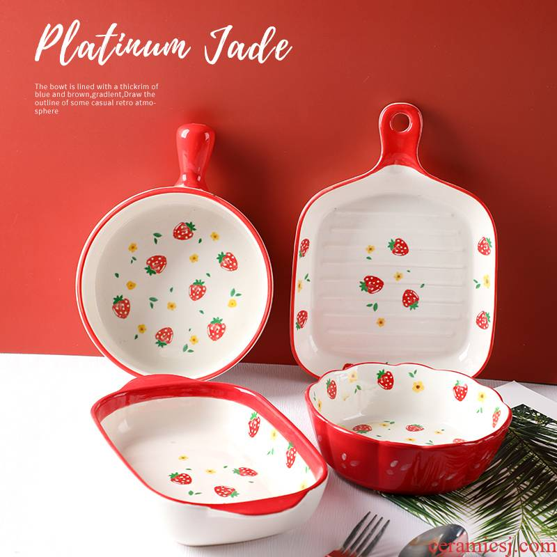 With handles plate express it in Japanese girls heart baking oven tray was special ceramic home baking bowl of my ears