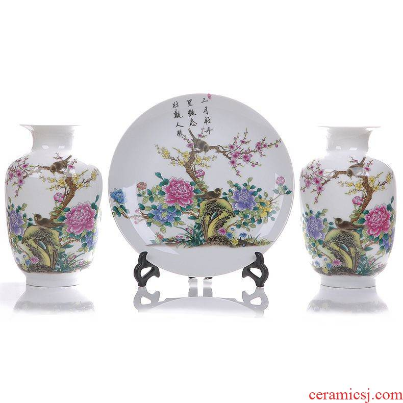Jingdezhen ceramics with modern fashion three - piece vase home furnishing articles sitting room adornment ornament arts and crafts