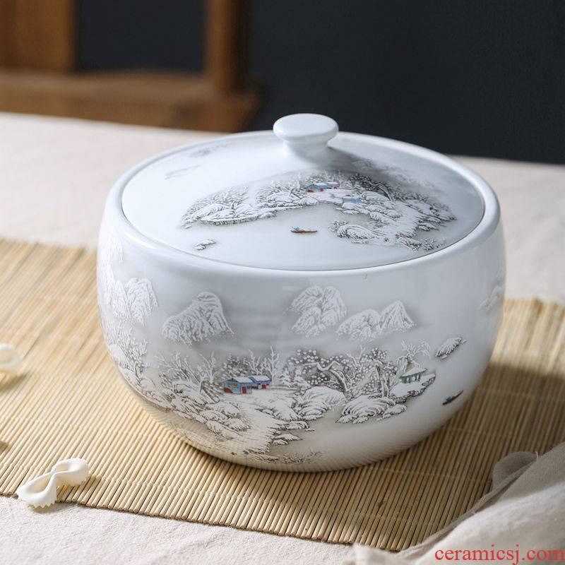 Household ceramics barrel ricer box sealed with cover rice wine bacon lard oil cylinder 3 jins 5 jins of 10 jins 20 jins moistureproof worm