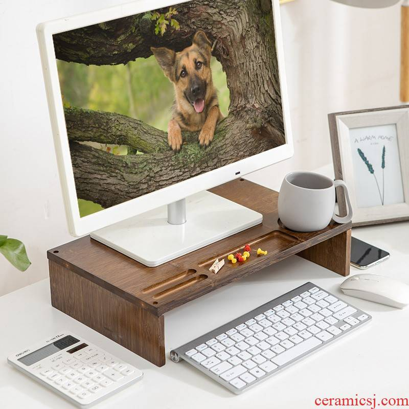 Creative who screen frame desktop office desktop receive bamboo base bracket display rack drawer place other people