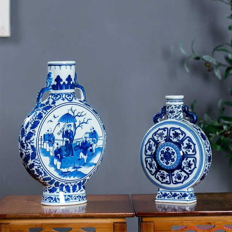 Jingdezhen ceramics vase classical Ming and the qing dynasty the qing phase method of flat bottles of furnishing articles Chinese antique blue and white porcelain flower arrangement
