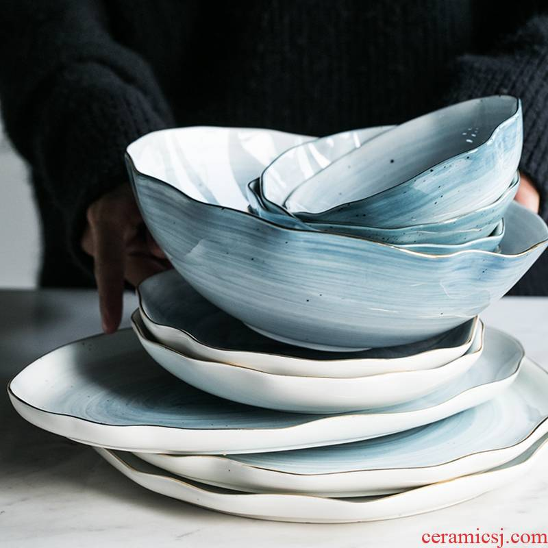 Qiao mu DY European ceramic two people eat four people eat steak dishes dishes suit up phnom penh dish dish bowl suit