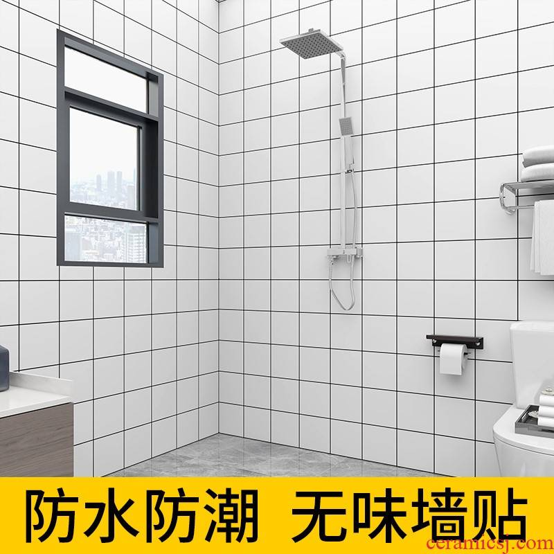 Bathroom toilet metope waterproof wall stickers modesty which wallpaper adhesive moistureproof mildew toilet imitation ceramic tile wall stickers