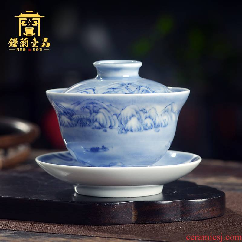 Jingdezhen blue and white, maintain the snowscape hand - made ceramic only three tureen tea cups kunfu tea ware bowl with cover a single