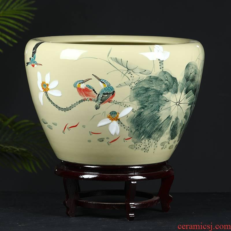 Jingdezhen ceramic tank sitting room fountain circulation water tank large household furnishing articles aquarium fish bowl