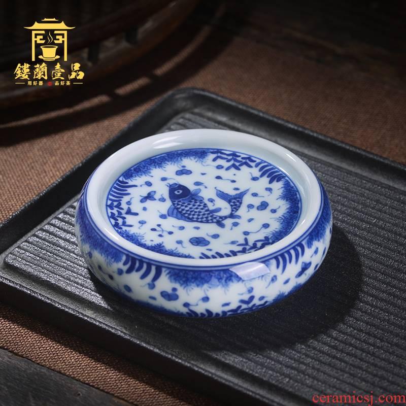 Jingdezhen ceramic algal lines cover all hand - made mackerel tureen Joe green CiHu buy small cup mat cup cup pad
