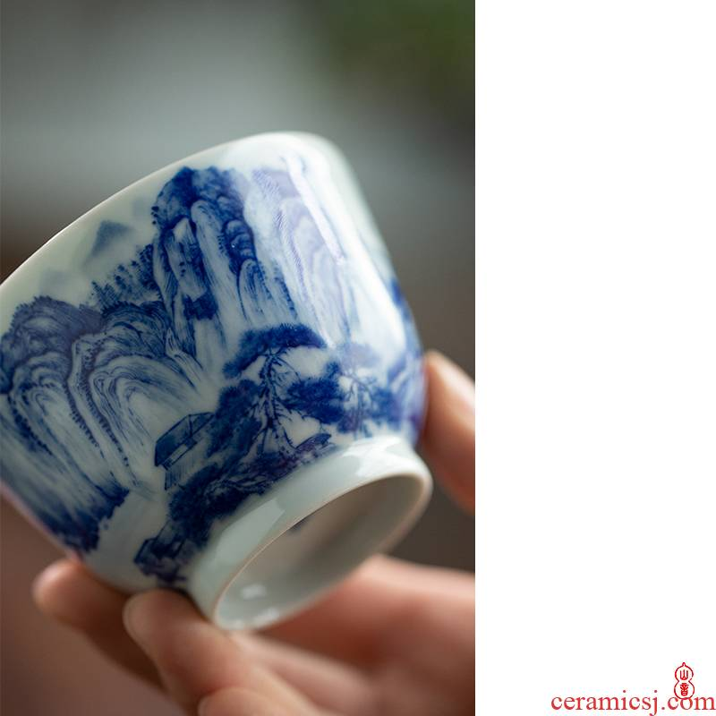 Day green room blue red cliff meditate on the CPU of jingdezhen ceramic hand - made kung fu tea cup single CPU