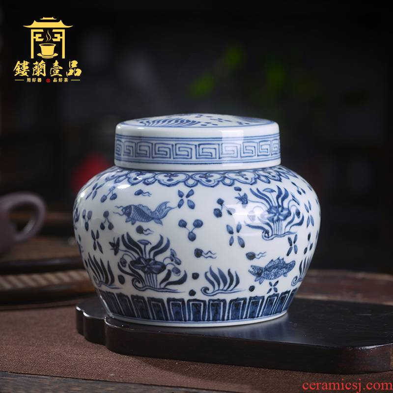 Jingdezhen ceramic blue and white ruffled flowers all hand - made maintain caddy fixings storage tanks with cover seal pot home furnishing articles