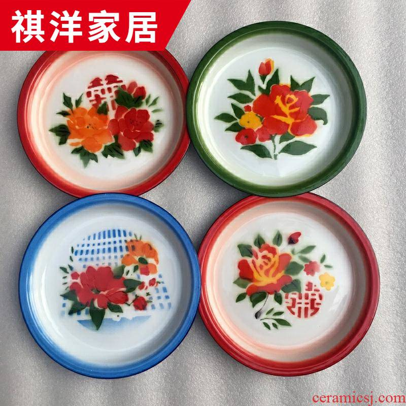 Enamel nostalgic classic dish of tea fruit bowl wedding happy character dry fruit tray was old tea tray was circular tray
