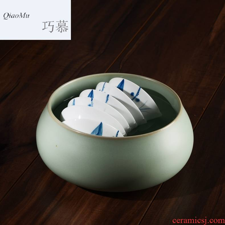 Qiao mu CMJ ceramic kung fu tea tea tray parts elder brother officer, brother writing brush washer wash cup sizes on your porcelain your up