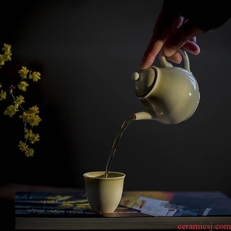 BoHua contracted plant ash glaze gourd little teapot ceramic household single tea Japanese kung fu tea set