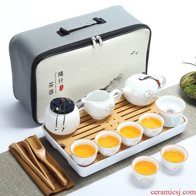 Travel to the new white porcelain tea set suit portable package Japanese is suing contracted out mini household kung fu tea