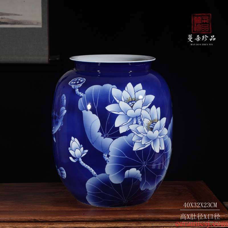 Jingdezhen 45 cm 56 cm high hand hand color peony peony flowers display blue and white porcelain vase