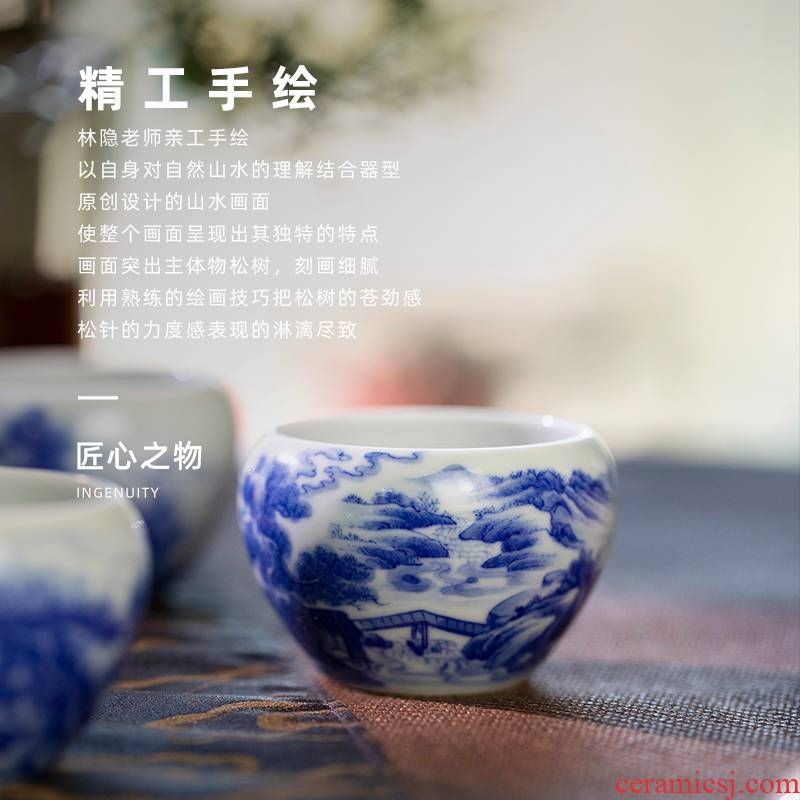 Lin Yin pines canister of jingdezhen blue and white master cup single hand - made of CPU ceramic cups kung fu tea set