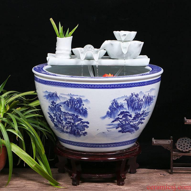 Jingdezhen ceramic aquarium sitting room ground water fountain aquarium large household cycle aquarium fish bowl