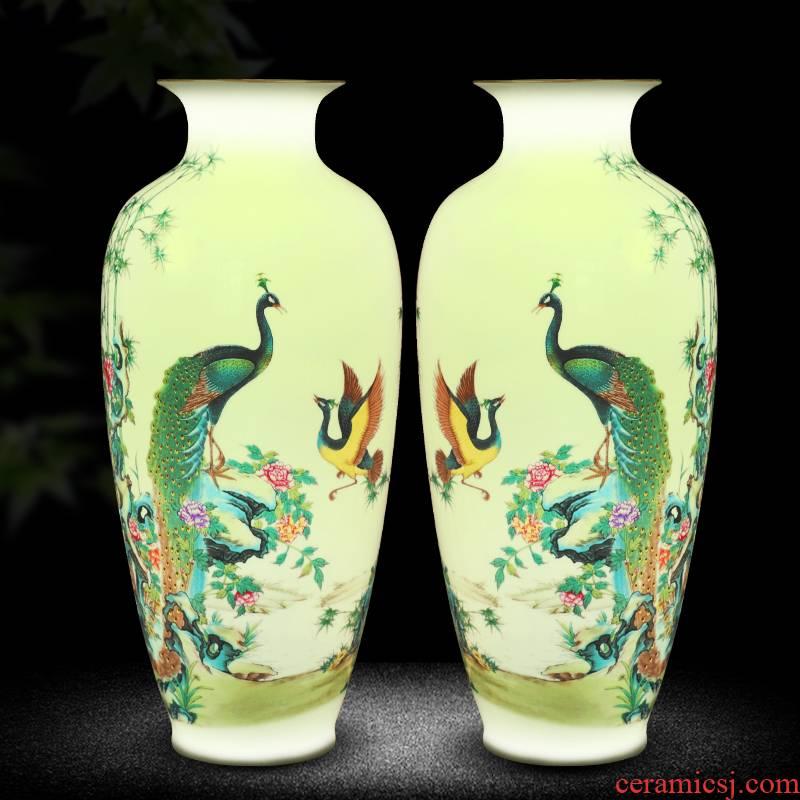 Jingdezhen ceramics vase furnishing articles of new Chinese style household adornment wine porch flower arranging handicraft sitting room