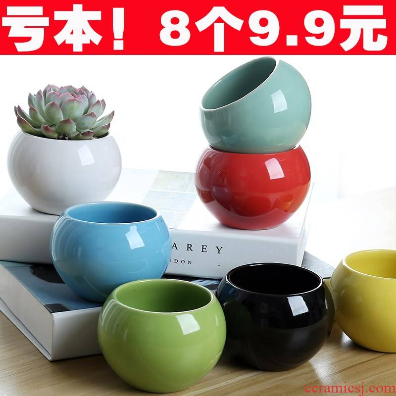 Fleshy flowerpot ceramic candy color pellet plant flowers, potted contracted the size tray air clearance