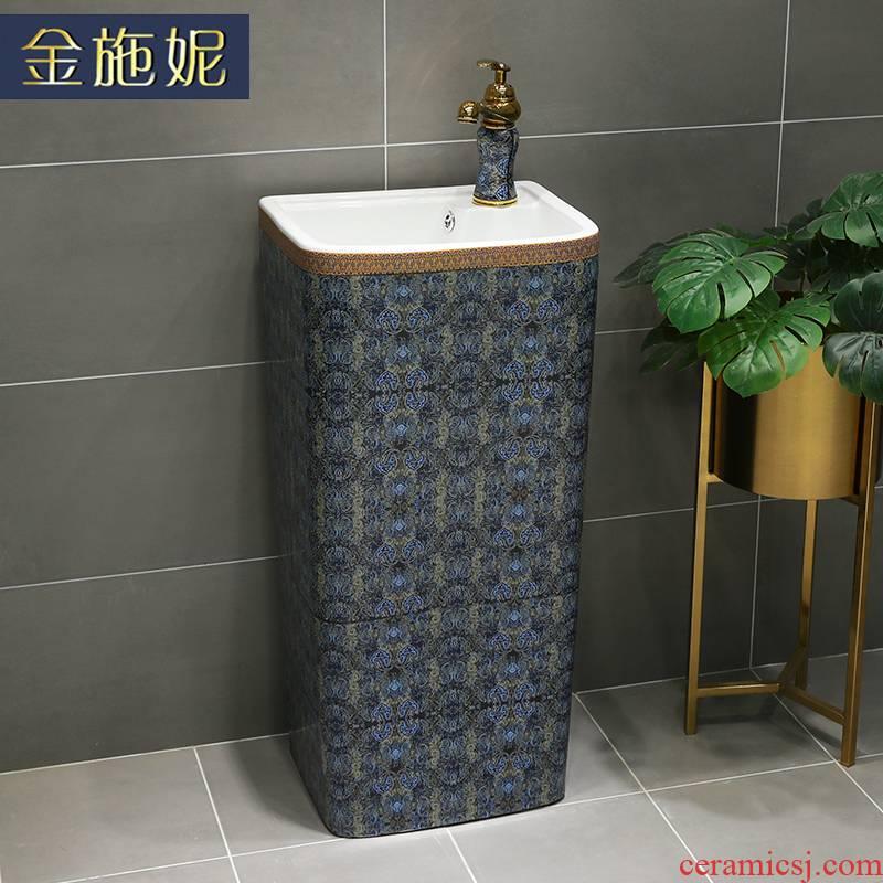 European art ceramic column basin household balcony vertical sink is suing the pool ceramic garden is suing household