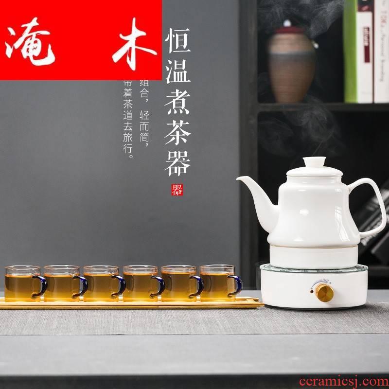 Flooded wood miniature boiling kettle ceramic black tea tea is tea set side to pot of warm tea, electrothermal TaoLu