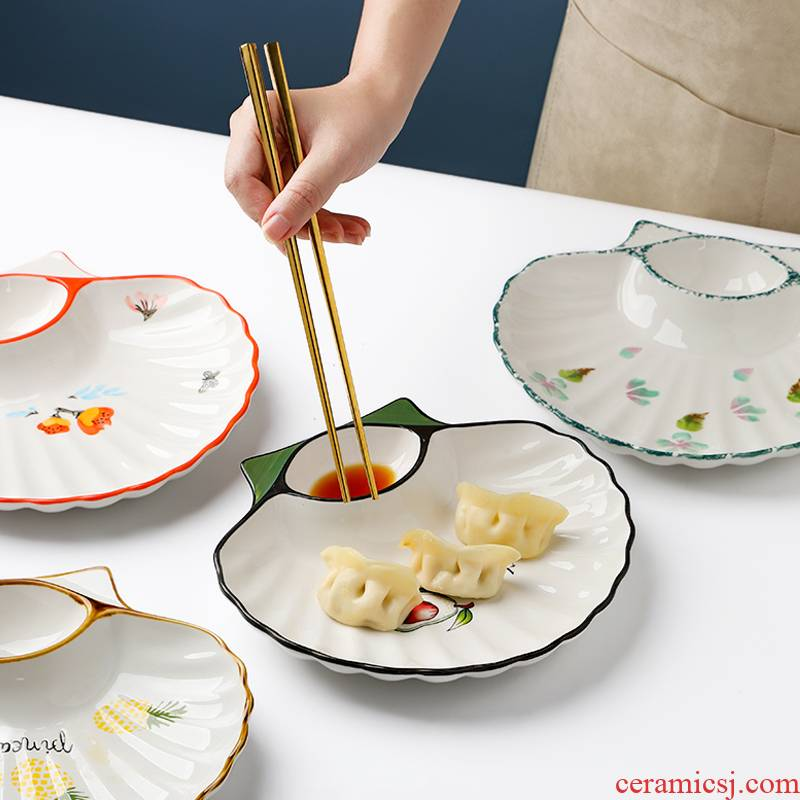 Dumplings plate of Japanese household Korean Nordic style exquisite ceramic plate with dip small plate tray was creative points