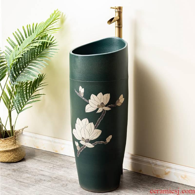 Pillar lavabo courtyard pool floor integrated basin balcony column basin ceramic lavatory toilet 3