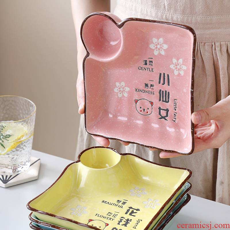 Eat dumplings plate with double layer plate of Japanese household vinegar dish web celebrity drop Korean creative special ceramic plate