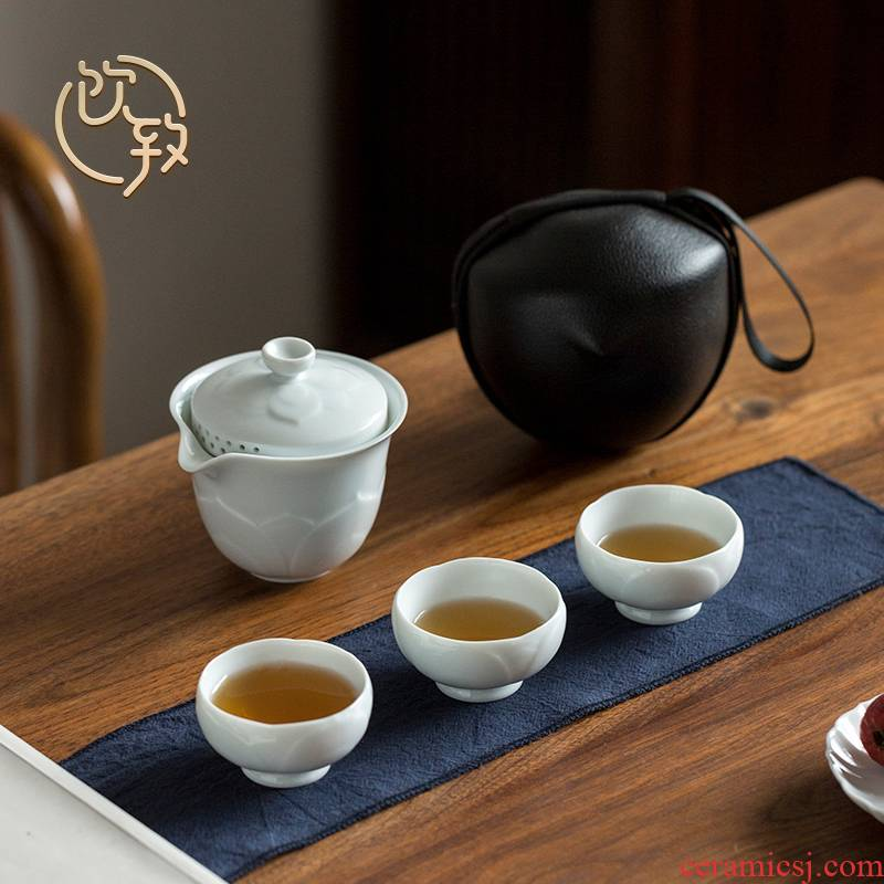 Ultimately responds to travel tea set kung fu tea set of small ceramic crack with a pot of three portable package