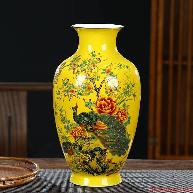Yellow famous jingdezhen ceramics, vases, flower arrangement of Chinese style living room office furnishing articles decoration decorative arts and crafts